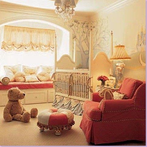 Elegant Fairytale Nursery. Love the window treatment