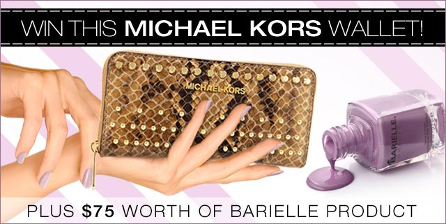 Enter Barielle's Sweepstakes For A Chance To Win a Michael Kors wallet & $75 worth of Barielle products!