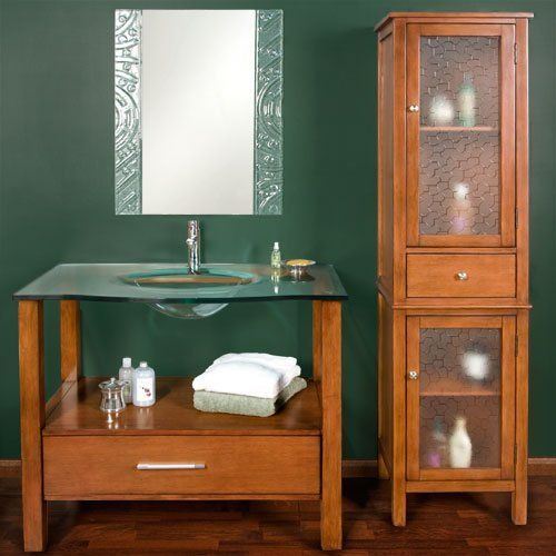 Brilliant Bath Vanity With Open Bottom Section Suspended Shelf Panel Ends And