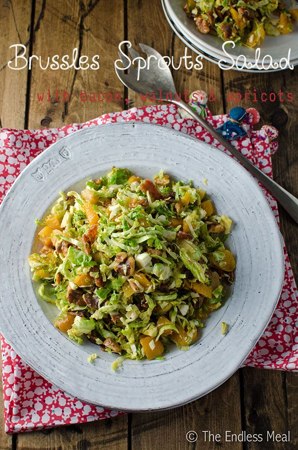 Shredded Brussels Sprouts Salad with Bacon Walnuts and Apricots