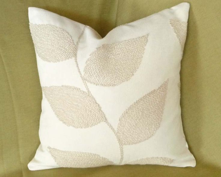Throw Pillow Covers Cream : Cream Throw Pillow, Contemporary Cushions, Decorative, Leaves Pillow
