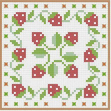 strawberries biscornu chart