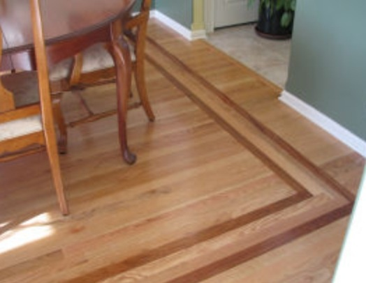 Inlaid wood floors for Kitchen dining room flooring