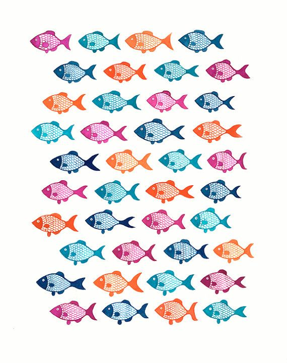 Fishes Gouache Illustration by funnelcloud on Etsy, $36.00