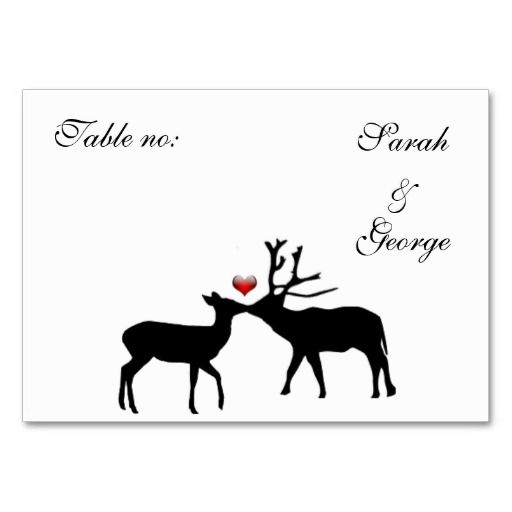 doe and buck wedding place cards
