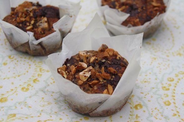 Vegan pear, chocolate and hazelnut muffins