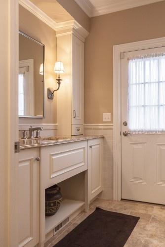 tall narrow cabinets above vanity bathroom upgrade