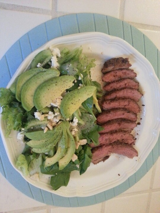 Spice rubbed tri-tip & Spinach, avocado, goat cheese, lentil chips ...