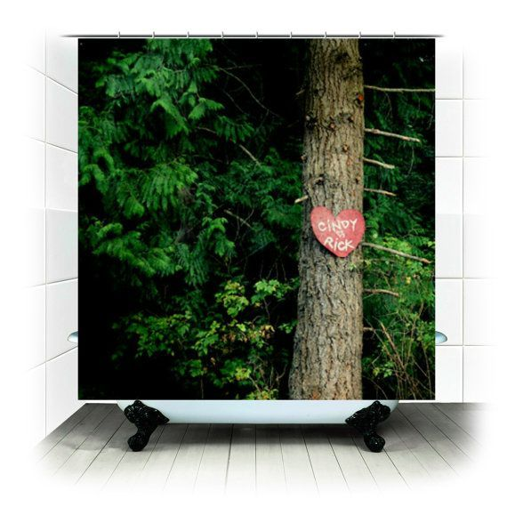 Fabric shower curtain green personalized forest woodland - Forest green shower curtain ...