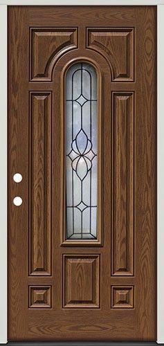 pre finished oak fiberglass front door center arch 18 from door