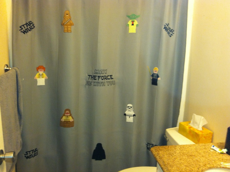 My homemade star wars shower curtain bought the appliques from etsy
