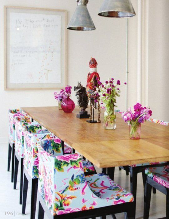 colorful floral dining chairs