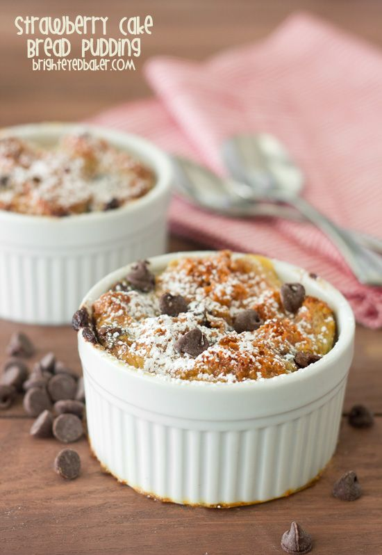 ... you ever have leftover cake... try this Strawberry Cake Bread Pudding