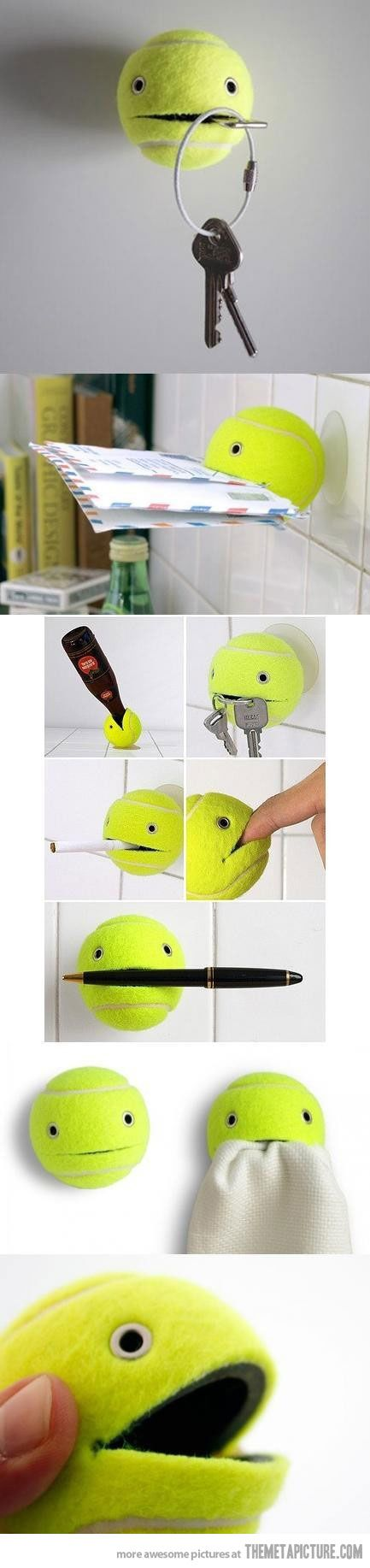 """Useless crafting idea #7,892, """"Useful"""" tennis ball. Can you hold my keys? This towel? That cigarette. Hold my beer, but don't drink it. Heh heh, pull my finger."""