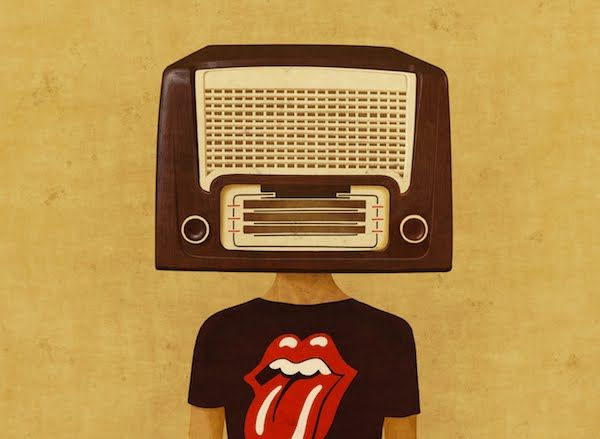 Illustrated Portrait Series of Human Heads as Vintage Radios