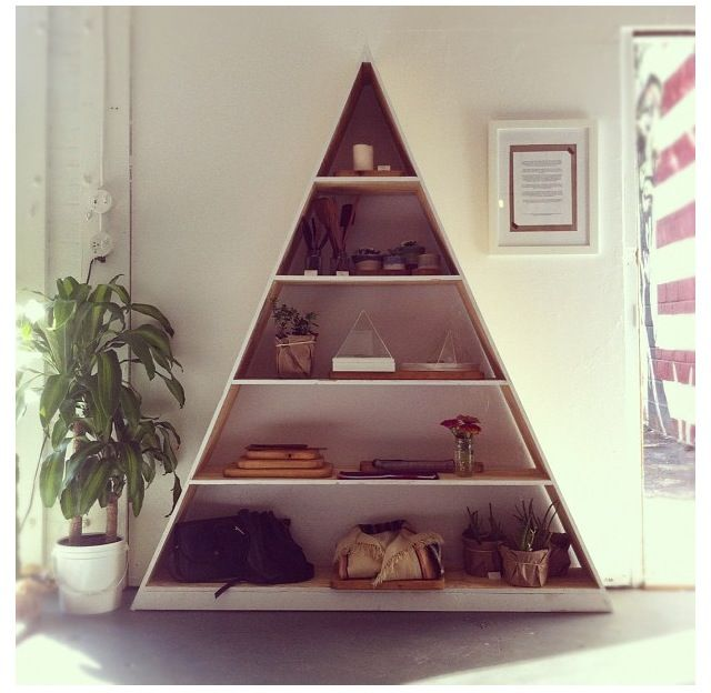 Triangle bookshelf shelves pinterest - Triangular bookshelf ...