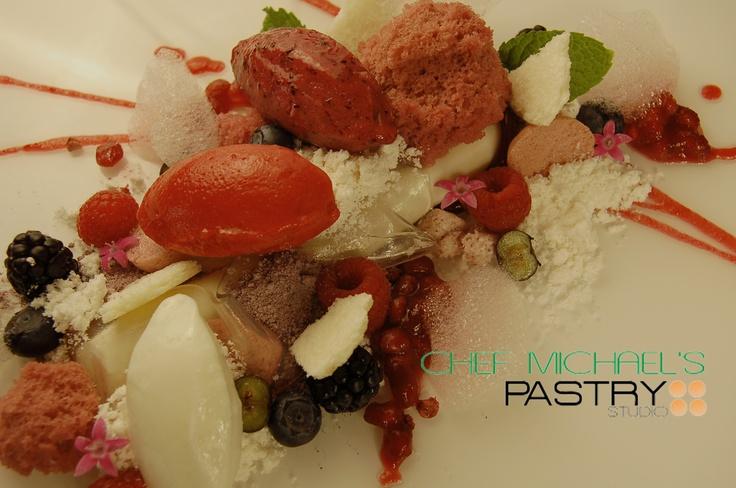 Greek Yogurt Panna Cotta, Wildberry Pomegranate gelee, lavender tea ...