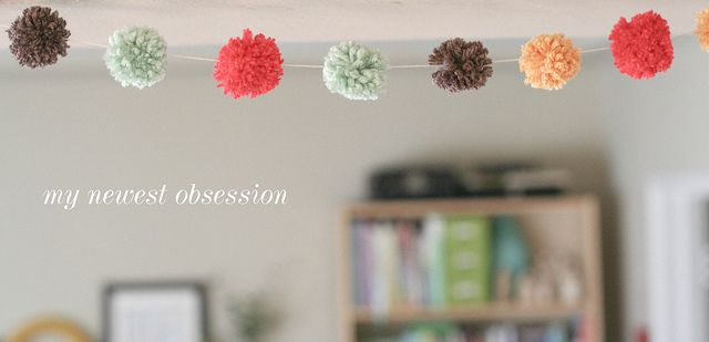 DIY yarn pom-pom garland | yourwishcake.com by wishcake, via Flickr
