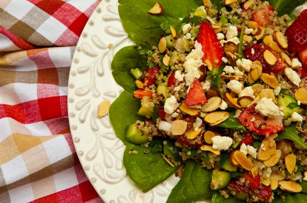 Quinoa Salad With Strawberries, Almonds, & Feta Cheese | Recipe