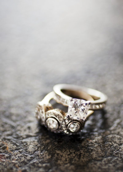 engagement ring and vintage right hand ring