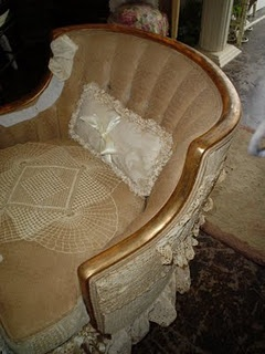 Vintage Lace covered Chair