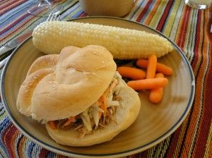 cajun pulled pork topped with cole slaw - eating this right now- YUM!