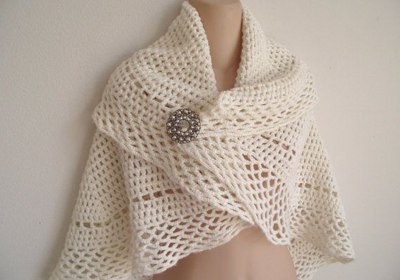 Vintage crochet wrap shawl cape circle style white by divasvintage, $ ...