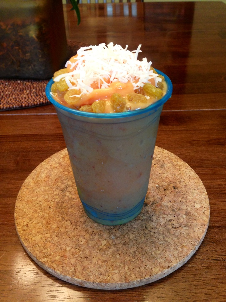 /strawberry/pineapple/ Lime smoothie Topped with: shredded coconut ...