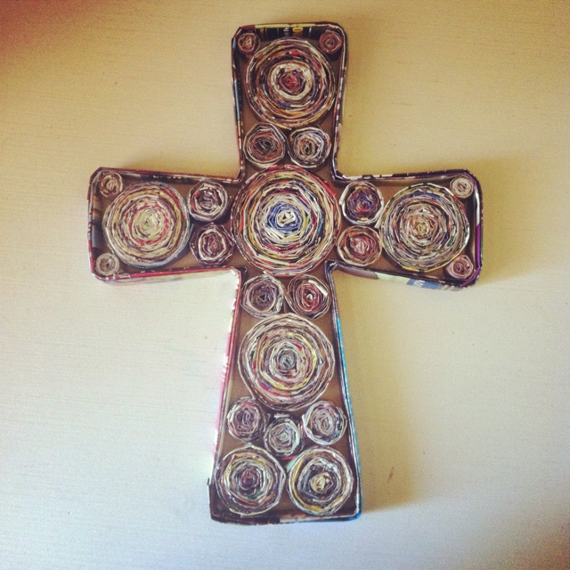 My cross made from magazine paper! Saw it pinned yesterday and decided to do it myself. I think it turned out pretty good!!