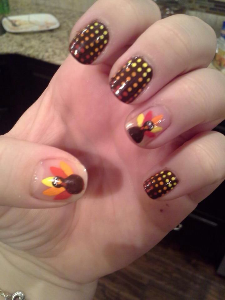 Thanksgiving turkey nail art | pretty Fingerspretty Toes | Pintere