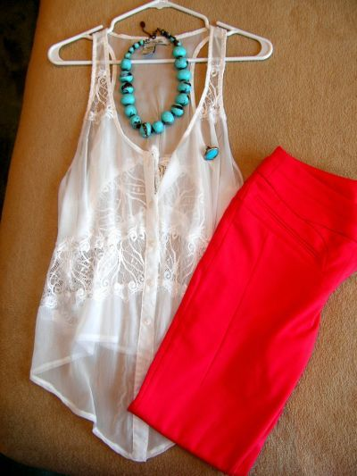 Turquoise and red