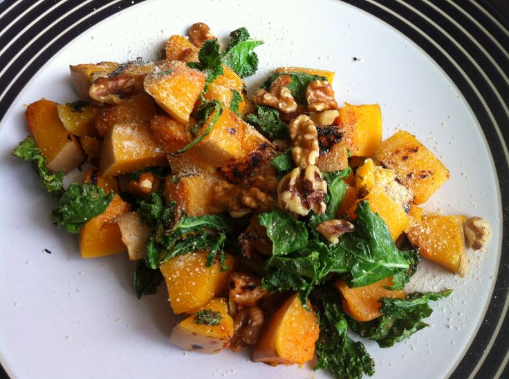 Warm Butternut Squash and Kale Salad with Walnuts and Parmesan