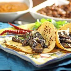 Portobello Tacos, with chipotle and smoked mozzarella, and Tomatillo ...