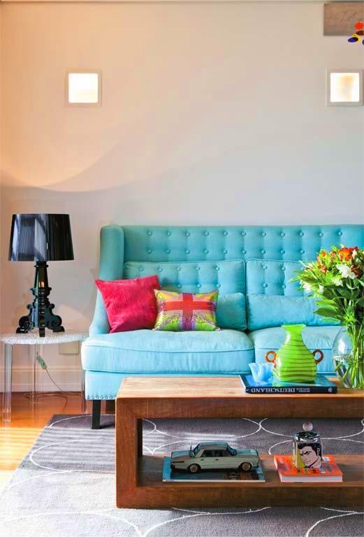 Sala Pequena Na Cor Azul ~ Another Image For Sofá azul, sala, decor, decoração  Vamos brincar