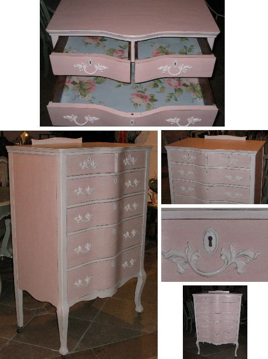 Chic Pink And White Tall Dresser Furniture Pinterest