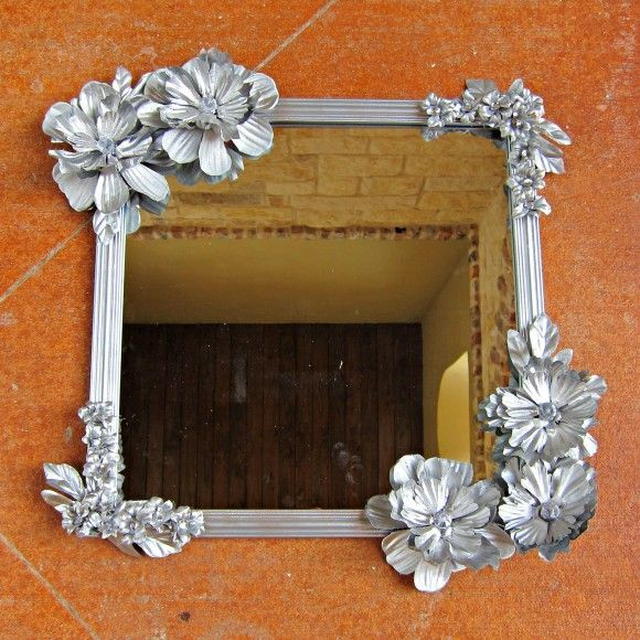 glue sikh flowers to mirror frame and spray paint silver or gold for. Black Bedroom Furniture Sets. Home Design Ideas