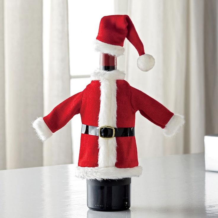 Santa Suit Wine Bottle Cover | Christmas Gift Ideas | Pinterest