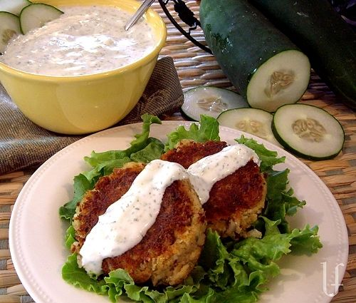Falafel and Tzatziki Sauce recipe-http://eatingwelllivingthin ...