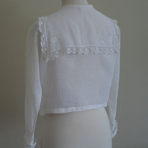 White Sailor Blouse With Lace Trim 103