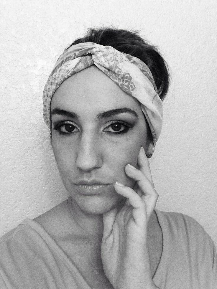 Smokey Blue gray eyes & scarf headband | Boho Chic | Pinterest