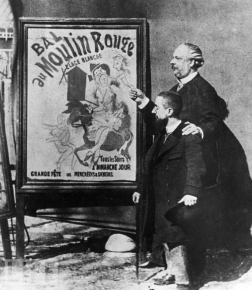 French painter Henri Toulouse-Lautrec (L) stands near one of his