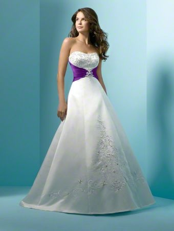 Love the purple accent on this dress dream wedding stuff for White wedding dress with purple accents