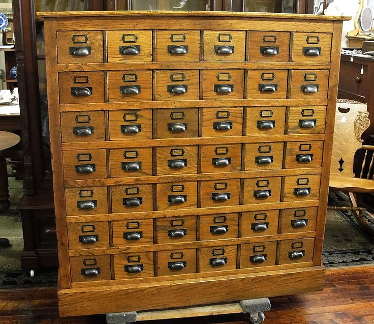 Oak Library Card File With 48 Drawers For The Home Pinterest