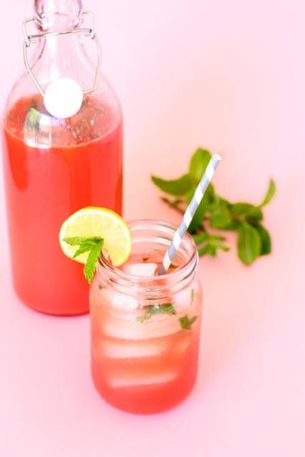 (serves 6) 1.5 cups hot water 1/4 cup honey 4 cups watermelon ...