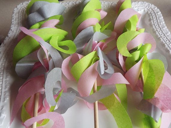 Paper Ribbon Wand Streamers, Set of 20, Pink, green and metallic silv