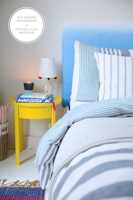 DIY ombre headboard and Steven Alan x West Elm stripe bedding