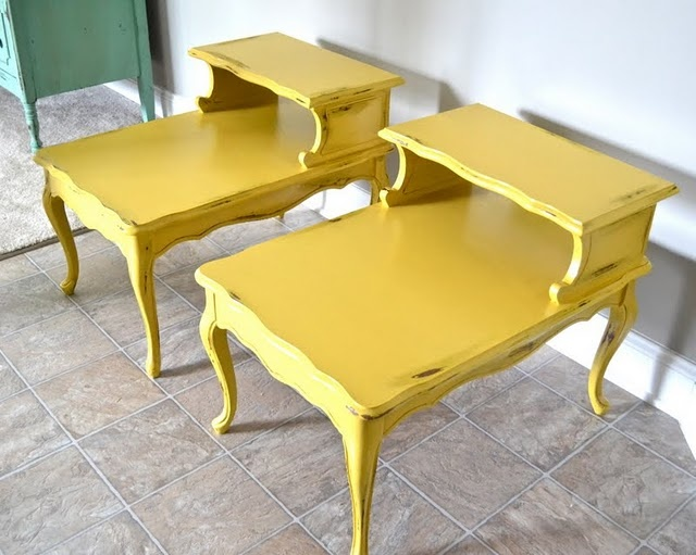 cute distressed yellow end tables
