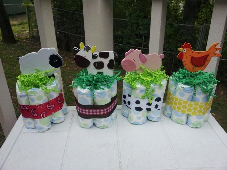 Farm theme mini diaper cakes