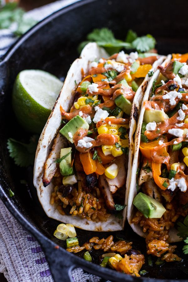 ... Chicken Fajitas with Cheesy Enchilada Rice + Tex-Mex Special Sauce