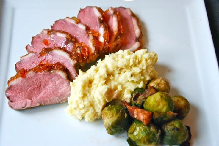 Glazed duck breasts, root vegetable puree, brussel sprouts for dinner ...